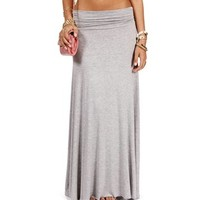 Pre-Order: Heather Grey Ruched Waist Maxi Skirt