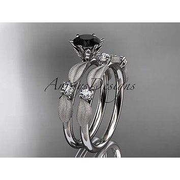 14kt white gold butterfly engagement ring, enhanced Black Diamond ADER177S