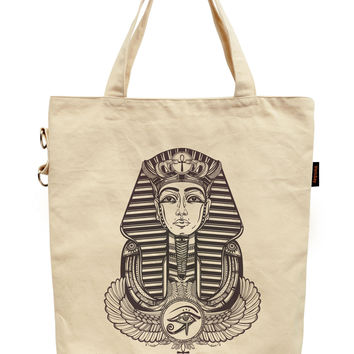 Women Tattoo Winged Ankh Printed Canvas Tote Shoulder Bag WAS_40