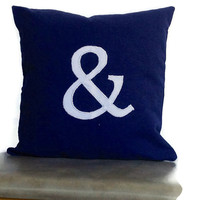 Women s gift ideas, Ampersand Symbol Navy Blue 18 inches monogram pillow, Alphabet cushion cover-customized letter throw pillows,