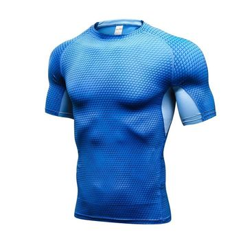 Summer New Men Tops Casual Compression Shirt T-shirts Men Fitness Male Quick Dry Bodybuilding Crossfit Tops S3