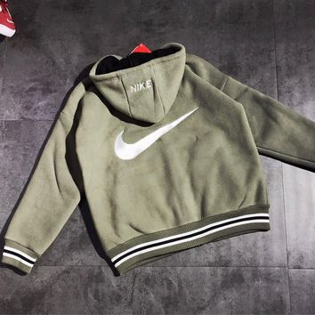 NIKE Winter Classic Fashion Women Men Lambs Wool Zipper Cardigan Jacket Coat Green