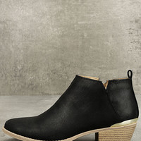 Marzia Black Distressed Ankle Booties