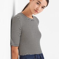 Stripe modal elbow-sleeve crewneck | Gap