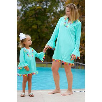 2018 Mommy & Me Matching Adorable Aqua Rainbow Tassel Swim Covers Kids