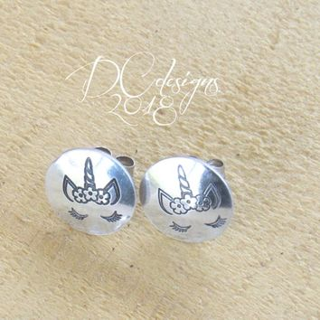 Unicorn Jewelry, Stud Earrings, Sterling Silver Earrings, Unicorn Birthday, Silver Stud Earrings, Gifts for Her, Christmas Gift