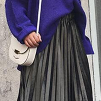 Pure Color Elastic Waist Velvet Pleated Long Skirt