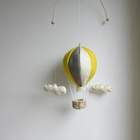 hot air balloon mobile, baby mobile, CUSTOM COLOURS, nursery mobile by tinyluck, gray yellow mobile, baby room decor, wool felt