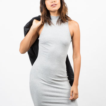 Ribbed Mock Neck Basic Dress
