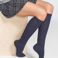 FULL TILT 3 Pack Diamond Knit Womens Knee High Socks | Socks