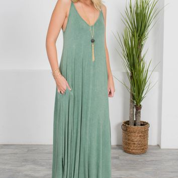 Forest Green Summer Maxi Dress