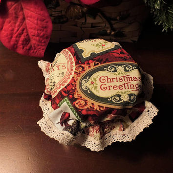 Vintage-Look Christmas Labels Elastic Mason Canning Jar Bonnets, Jam Jar Covers ... Package of 10