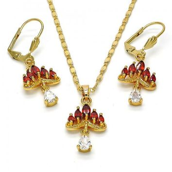 Gold Layered 10.221.0006 Necklace and Earring, Teardrop Design, with White and Garnet Cubic Zirconia, Polished Finish, Golden Tone
