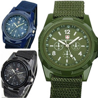 Solider Military Men's Sport Style Canvas Belt Luminous Quartz Wrist Watch