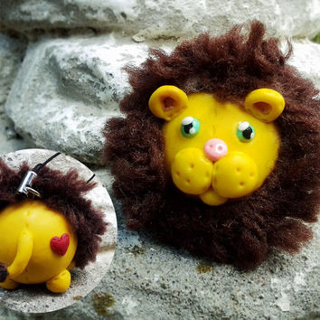 "Leonardo the Lion Bubbimal -- Handmade Polymer Clay w/ Yarn, Cute Chubby Animal Ornament Decor, Plush - Like Heart ""Patch"" & ""Button"" Nose"