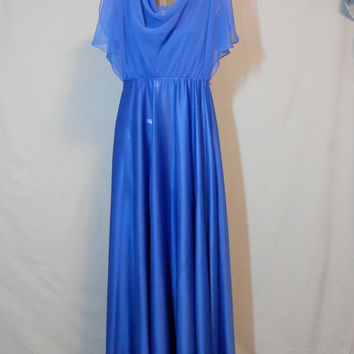 1970's TALL Prom Evening Royal Blue Front and Back Drape Dress
