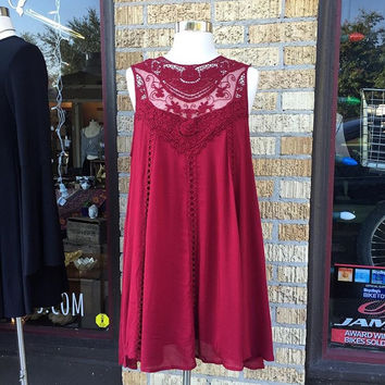 A Bohemian Lace Dress in Wine