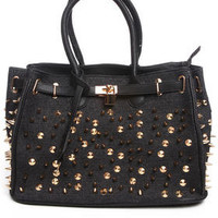 Rox Studded Denim Handbag by Fashion Lab
