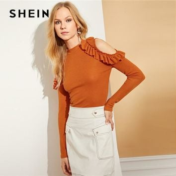 c06723f653b90d SHEIN Mock Neck Cold Shoulder Frill Tee Elegant Ladies Stand Col