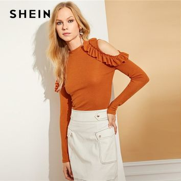 SHEIN Mock Neck Cold Shoulder Frill Tee Elegant Ladies Stand Collar Long Sleeve T-shirt Women Autumn Stretchy Ruffle Tops