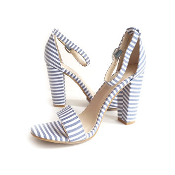 Riviera Striped Block Heel