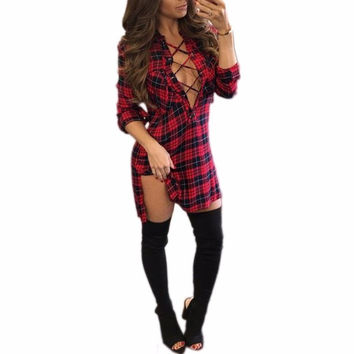 2016 Fashion Autumn Shirt Dress Women Long Sleeve Loose Red Plaid Mini Dres V Neck Sexy Bandage Dresses Vestidos Party Dresses