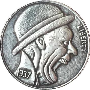 RARE Hobo Nickel 1937-D BUFFALO NICKEL COIN YELLING MAN BOWLER HAT OLD