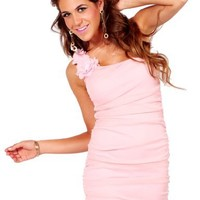 Chic Ruched Slimming One Shoulder Asymmetrical Sleeveless Sheer Floral Mini Dress