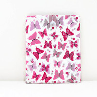 Butterfly IPad cover, pink and purple butterfly print fabric, padded Ipad case, fabric Ipad cover, handmade in the UK