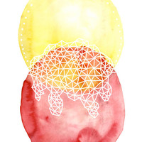 TWIN SUNS abstract watercolor art print in golden yellow and thalo red