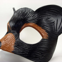 Black Bear Leather Masquerade Animal Mask for Renaissance faire, cosplay, LARP or display