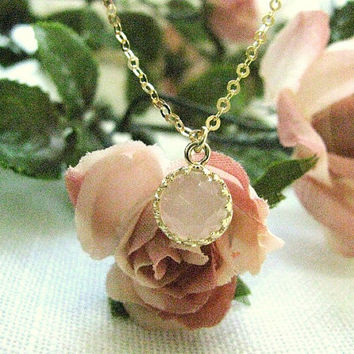 Gold necklace, gold necklace with rose quartz stone, vintage necklace, bridal jewelry, romantic necklace