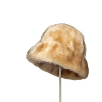 Vintage Tan Faux Fur Hat / Winter Hat