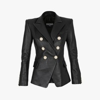 Double-breasted leather blazer | Women's leather blazers | Balmain