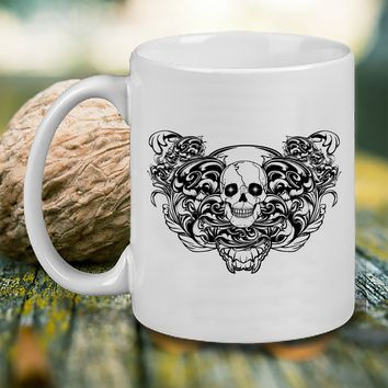 gothic skull filigreer Mug, Tea Mug, Coffee Mug