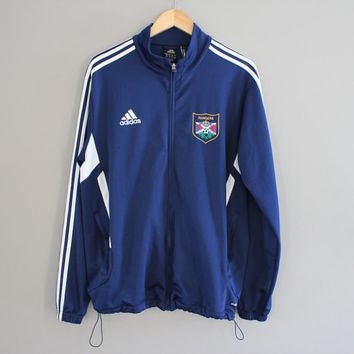 Adidas Jacket 90s Navy Blue Athletic Adidas Zip Track Jacket 3 Stripes Calgary Rangers Classic Adidas Size M - L