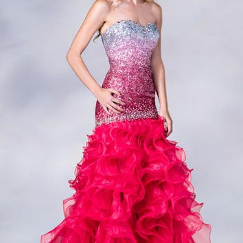 PRIMA C137698 Pink Sequin Mermaid Prom Dress