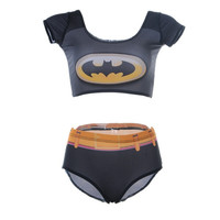 New Women Swimsuit Cartoon Batman Print Tankinis 2 Piece Set Sexy Swimwear