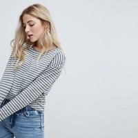 New Look Slouchy Stripe 3/4 Sleeve Tee at asos.com