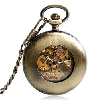 Vintage Mechanical Pocket Watch Automatic Skeleton Steampunk Men Fob Watch Smooth Case Half Hunter Exquisite with Gift Bag