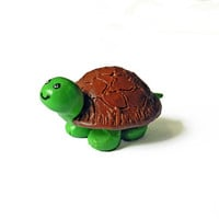 Turtle Figurine - Polymer Clay Turtle - Green and Brown - Summer Decoration - Turtle Decoration - Mini Turtle - Polymer Clay Animals