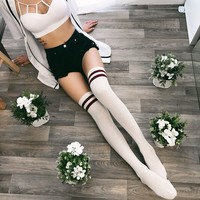 Tommy Striped Knitted Thigh High Socks (VANILLA/WINE)