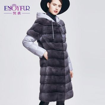 ENJOYFUR Women's Winter Fur Coats Genuine Mink Fur Down Coat With Hooded Thick Warm Fur Mink Coats For Women Real Mink Fur Coat