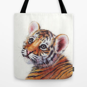 Tiger Cub Watercolor Painting Tote Bag by Olechka