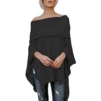 Black Off The Shoulder Irregular Dip Hem Casual Blouse