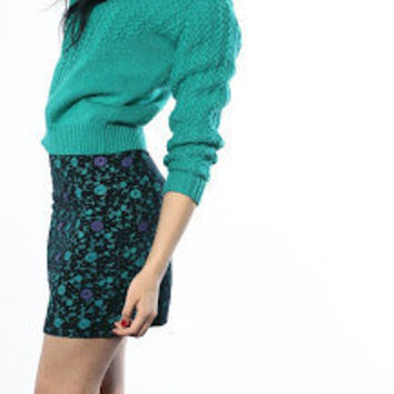 Country craft medium 70s Vintage cropped LS sweater teal diamond zig zag fitted knit