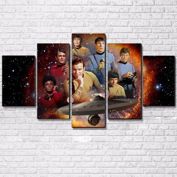 Star Trek Show Movie Stars Universe Wall Art Canvas Print Poster 5 Panel