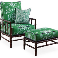 Taylor Burke Home, Beaufort Bamboo Chair & Ottoman, Emerald, Chairs with Ottomans/Footstools