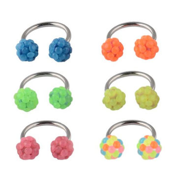 Body Piercing Jewelry Lot of 6pcs Surgical Stainless Steel Horseshoe Circular Barbell