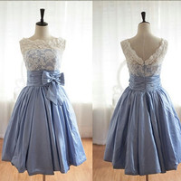 2014 Lace Bridal Prom Dress Knee Length Wedding Prom Gowns V Back Bridesmaid Dress Short Evening Dresses Custom